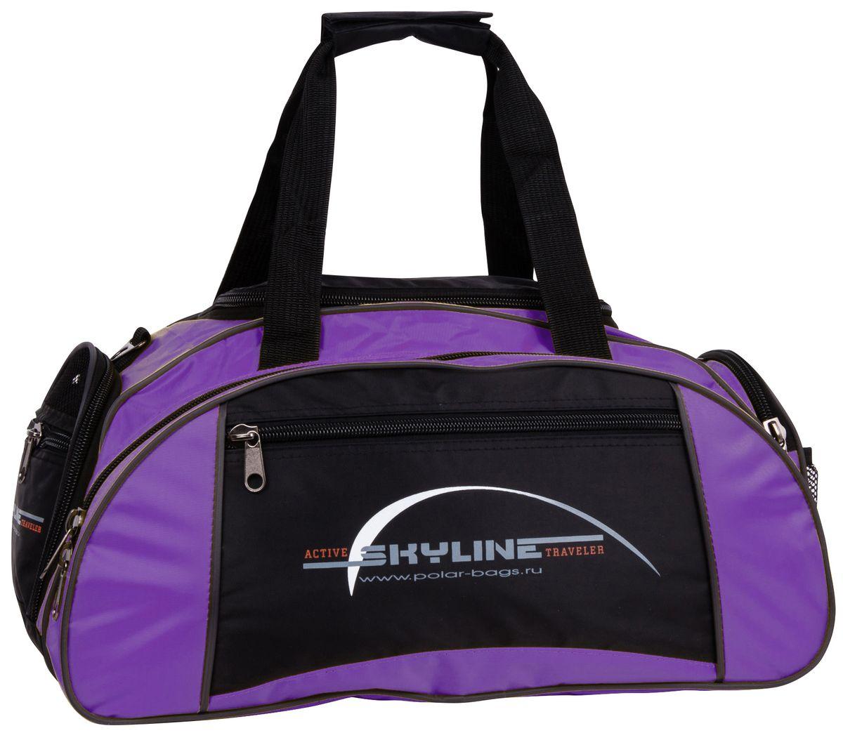 Сумка спортивная Polar Скайлайн, цвет: черный, фиолетовый, 36 л. 60636063Спортивная сумка Polar Скайлайн выполнена из полиэстера. Большое отделение под вещи, плюс три кармана снаружи сумки позволят вместить в сумку самые необходимые вещи. Сбоку расположен карман для обуви. Имеется плечевой ремень.