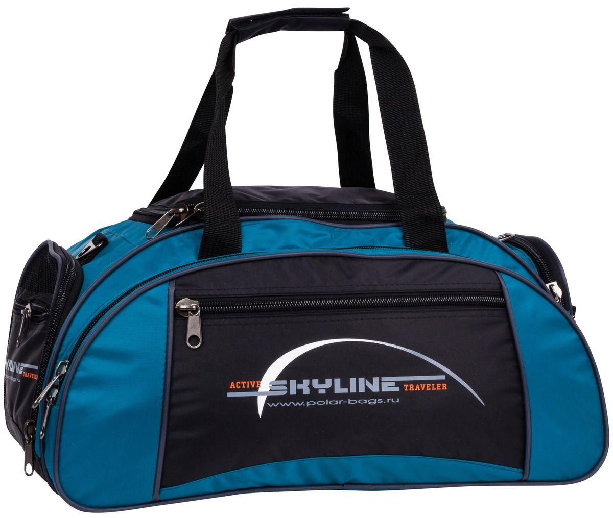 Сумка спортивная Polar  Скайлайн , цвет: черный, голубой, 36 л. 6063 - Дорожные сумки