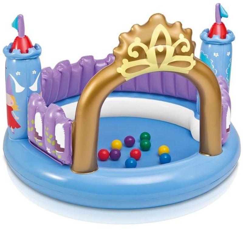 Intex Детский надувной бассейн Волшебный замок с шарикамис54602Надувной бассейн с шариками Волшебный замок, послужит отличным подарком для ребенка, ведь производитель Интекс известен качественными игрушками и другими товарами для детей.