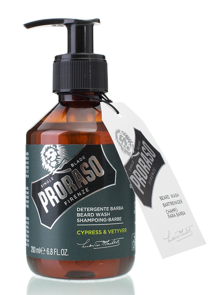 Proraso Шампунь для бороды Cypress & Vetyver 200 млGESS-131Шампунь для бороды Proraso Cypress&Vetyver Beard Wash создан для мужчин, которые любят свою бороду и заботятся о ней. Это средство смягчает и выпрямляет волосы на бороде, а также качественно удаляет грязь и неприятные запахи. Аромат кипариса и ветивера подарят свежесть на целый день. Продукт не содержит силиконов и парабенов,а также прошел дерматологические тесты.