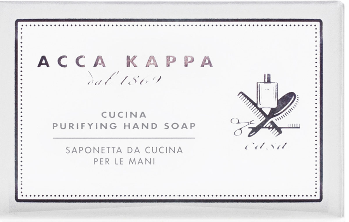 Acca Kappa Мыло туалетное увлажняющее 100 грFS-00897Растительное мыло активными ингредиентами. Обладая свежим ароматом лимона, эффективно устраняет раздражающие и стойкие неприятные запахи кухни.