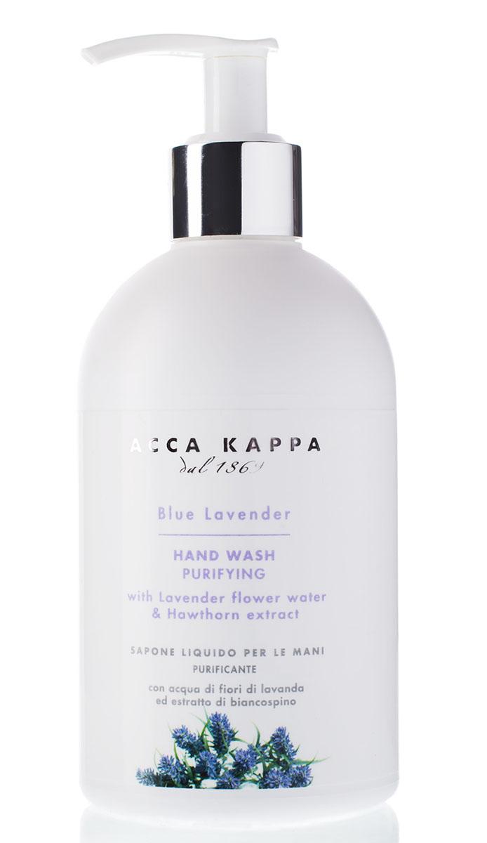 Acca Kappa Жидкое мыло для рук Голубая лаванда 300 млУ-3025Очищающее мыло для рук с цветочной водой Лаванды и экстрактом боярышника. Деликатно очищает, защищая, балансируя и увлажняя кожу.