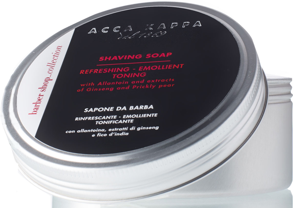 Acca Kappa Мыло для бритья 250 мл28032022Мыло для бритья, богатое тонизирующими и успокаивающими натуральными компонентами. Высокое содержание глицерина и растительных масел гарантирует эффективное увлажнение кожи, улучшая скольжение лезвия и делая бритье комфортным. Мята и ментол в составе придают коже приятное ощущение свежести и тонизируют ее.