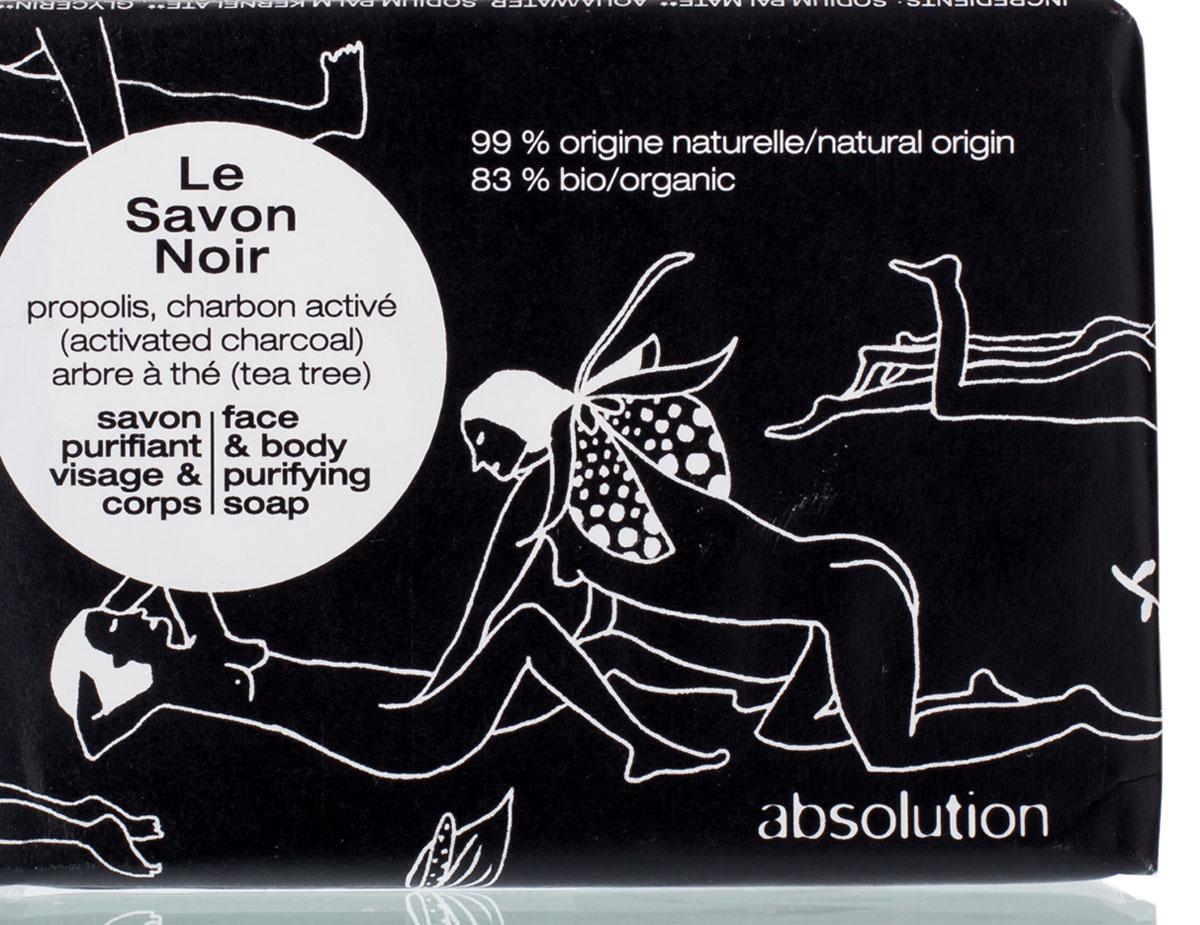 Absolution Мыло для лица и тела Le Savon Noir 100 гр343790Черное мыло с прополисом, активированным углем и маслом чайного дерева мягко очищает и балансирует кожу, не пересушивая ее. Легкий аромат специй поможет взбодриться с самого утра. /Используйте утром и вечером в качестве мыла для рук и для тела, а также для лица. Нанесите на влажную кожу, слегка помассируйте круговыми движениями. Оставьте мыло на несколько секунд, после чего тщательно смойте водой. В случае попадания в глаза тщательно промойте чистой водой.