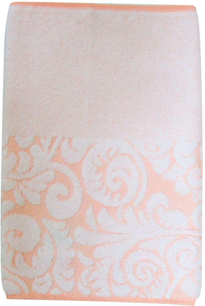 Полотенце махровое Bravo Версаль, цвет: персиковый, белый, 33 х 70 см55742Полотенце Версаль выполнено из натуральной махровой ткани (100% хлопок). Изделие отлично впитывает влагу, быстро сохнет, сохраняет яркость цвета и не теряет форму даже после многократных стирок. Полотенце очень практично и неприхотливо в уходе. Оно создаст прекрасное настроение и украсит интерьер в ванной комнате.