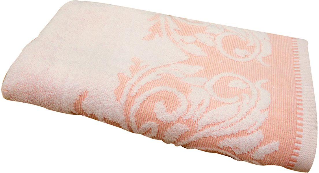 Полотенце махровое Bravo Венеция, цвет: персиковый, белый, 50 х 90 см70461Полотенце Венеция выполнено из натуральной махровой ткани (100% хлопок). Изделие отлично впитывает влагу, быстро сохнет, сохраняет яркость цвета и не теряет форму даже после многократных стирок. Полотенце очень практично и неприхотливо в уходе. Оно создаст прекрасное настроение и украсит интерьер в ванной комнате.