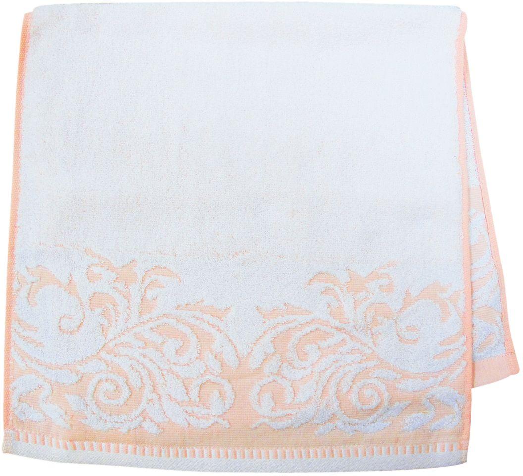 Полотенце махровое Bravo Венеция, цвет: персиковый, белый, 33 х 70 см68/5/3Полотенце Венеция выполнено из натуральной махровой ткани (100% хлопок). Изделие отлично впитывает влагу, быстро сохнет, сохраняет яркость цвета и не теряет форму даже после многократных стирок. Полотенце очень практично и неприхотливо в уходе. Оно создаст прекрасное настроение и украсит интерьер в ванной комнате.