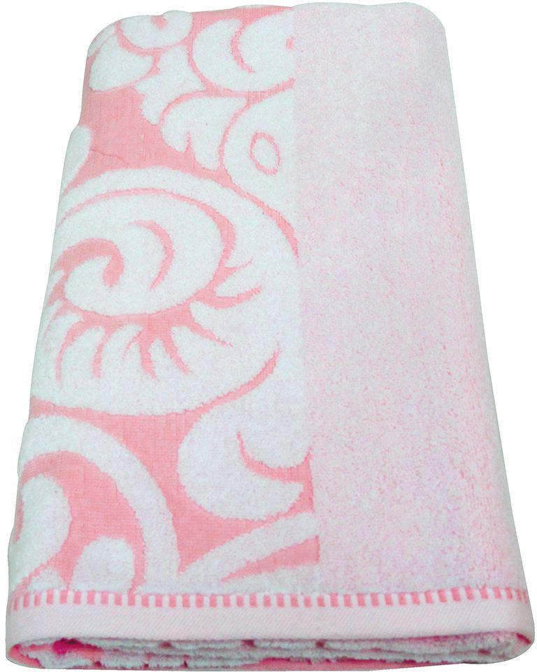 Полотенце махровое Bravo Версаль, цвет: розовый, белый, 70 х 130 см махровое полотенце версаль bravo