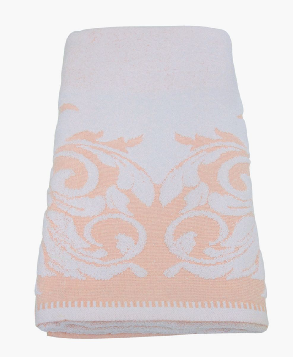 Полотенце махровое Bravo Венеция, цвет: персиковый, белый, 70 х 130 см66499Полотенце Венеция выполнено из натуральной махровой ткани (100% хлопок). Изделие отлично впитывает влагу, быстро сохнет, сохраняет яркость цвета и не теряет форму даже после многократных стирок. Полотенце очень практично и неприхотливо в уходе. Оно создаст прекрасное настроение и украсит интерьер в ванной комнате.