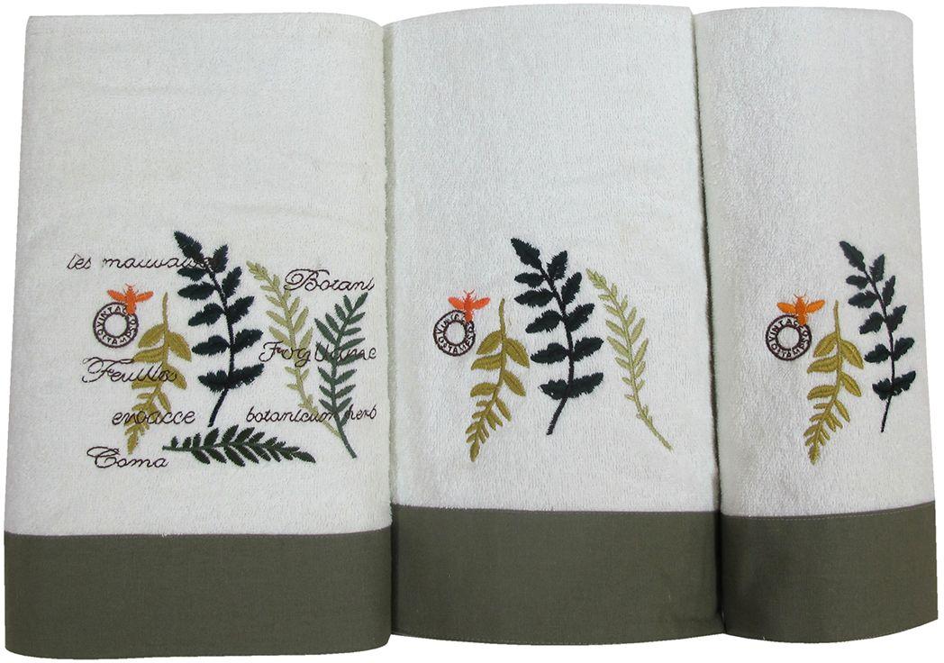 Набор махровых полотенец Bravo Ботаника, цвет: белый, зеленый, 30 х 50 см, 45 х 90 см, 65 х 130, 3 шт85509Набор Bravo состоит из трех махровых полотенец, выполненных из натурального 100% хлопка. Изделия отлично впитывают влагу, быстро сохнут, сохраняют яркость цвета и не теряют формы даже после многократных стирок.Полотенца Bravo очень практичны и неприхотливы в уходе.