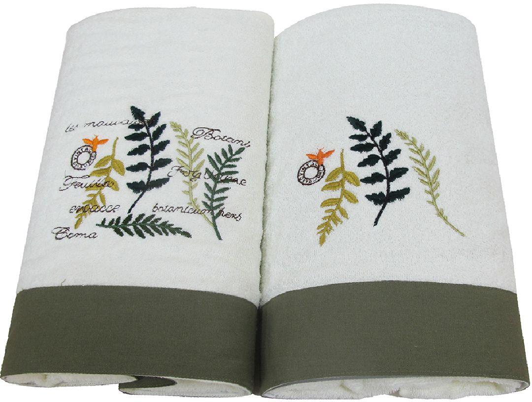Набор махровых полотенец Bravo Ботаника, цвет: белый, зеленый, 45 х 90 см, 65 х 130 см, 2 шт78890Набор Bravo состоит из двух махровых полотенец, выполненных из натурального 100% хлопка. Изделия отлично впитывают влагу, быстро сохнут, сохраняют яркость цвета и не теряют формы даже после многократных стирок.Полотенца Bravo очень практичны и неприхотливы в уходе.