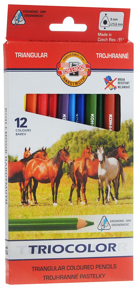 Koh-i-Noor Набор цветных карандашей Triocolor 12 цветовCS-MA410020Яркие цветные карандаши Koh-i-Noor Triocolor станут незаменимым инструментом для начинающих и профессиональных художников. В набор входят 12 карандашей разных цветов.Цветные карандаши в эргономичном трехгранном корпусе из натуральной древесины особенно удобны для детей. Такая форма помогает формировать правильную постановку руки. Ширина линии - 4 мм. Диаметр грифеля - 5,6 мм.Набор цветных карандашей - это практичный и современный художественный инструмент, который поможет вам в создании самых выразительных произведений.