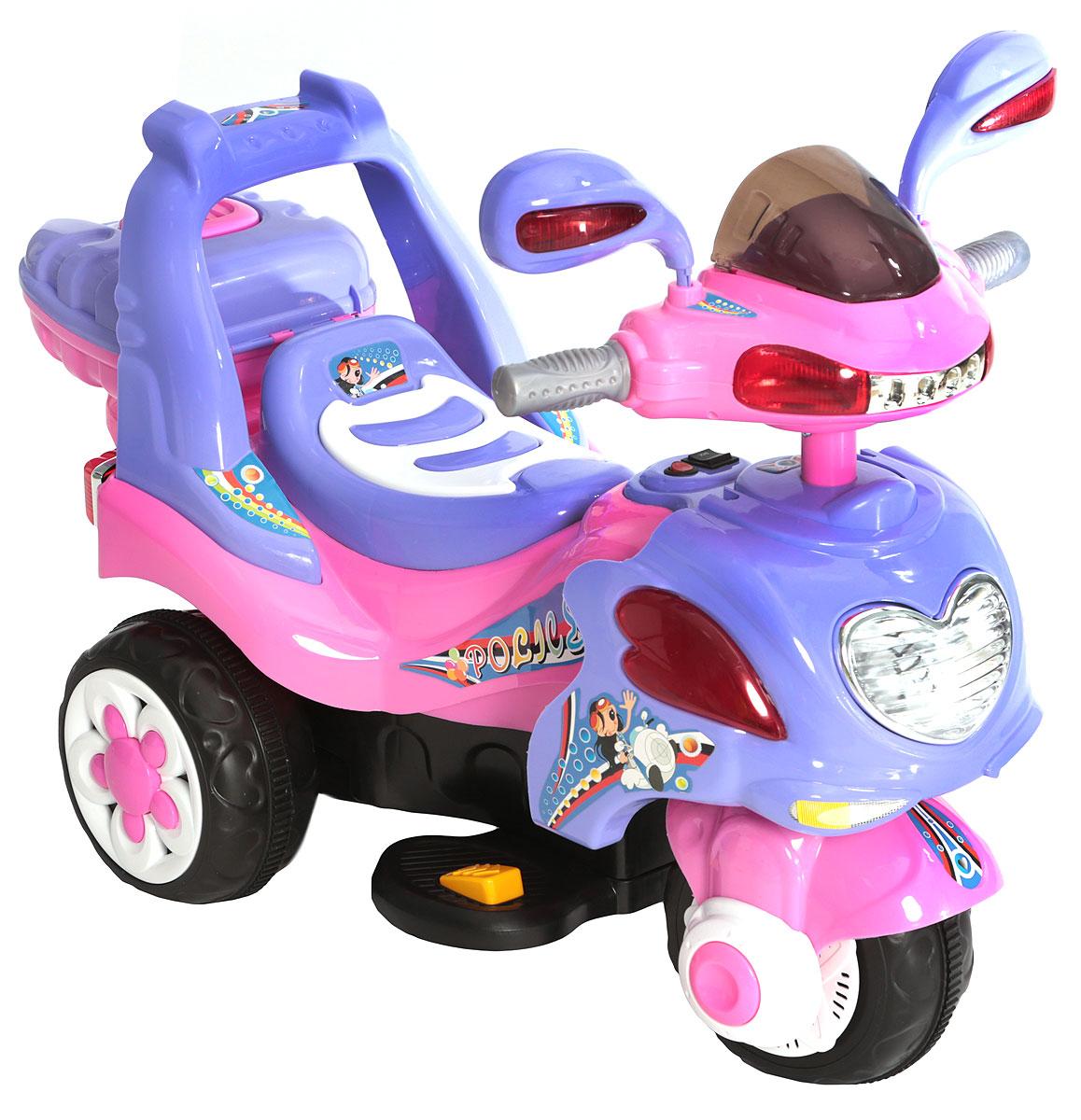 """Дети очень любят кататься на собственном транспорте. Стильный детский мотоцикл """"G120"""" понравится всем девочкам. Мотоцикл работает с помощью встроенного аккумулятора.Управляемый транспорт - это самая желанная игрушка для многих детей. Мотоцикл имеет максимально реалистичный вид, выполнен в ярких, привлекательных цветах, что делает его еще более интересным.Электромобиль рассчитан на детей в возрасте от трех до восьми лет (максимально допустимая нагрузка составляет 30 кг). Мощности будет вполне достаточно, чтобы почувствовать себя начинающим байкером, а одного заряда аккумулятора хватит не на один час прогулки.Игрушка движется вперед и назад, имеются световые и звуковые эффекты.Особенную радость доставит родителям небольшой вес модели. Да и габариты настолько невелики, что мотоцикл можно хранить даже в квартире и перевозить в небольшом багажнике автомобиля.Зарядка аккумулятора осуществляется посредством зарядного устройства, которое входит в комплект. Время зарядки составляет 8-12 часов.Необходимо купить 2 батарейки напряжением 1,5V типа АА (не входят в комплект)."""
