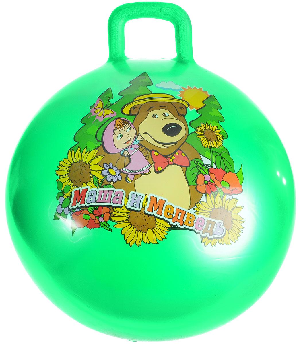 Играем вместе Мяч Маша и Медведь с ручкой цвет зеленый 55 см