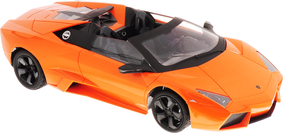 """Радиоуправляемая модель MZ """"Lamborghini Reventon Cabriolet"""" понравится не только ребенку, но и взрослому, ценящему оригинальные подарки. Модель выполнена из прочного пластика и представляет собой точную копию автомобиля Lamborghini Reventon Cabriolet в масштабе 1/14. В комплект входит удобный пульт управления в виде руля и зарядное устройство для аккумулятора модели. Модель отличается тщательной проработкой и высокой детализацией. Автомобиль реалистично двигается вперед и назад, а также выполняет повороты вправо и влево. Модель дополнена световыми и звуковыми эффектами - при нажатии соответствующих кнопок на пульте управления, раздается звук автомобильного клаксона, звук запуска мотора, ускорения автомобиля, поворота и движения назад. Прорезиненные колеса имеют рельеф и обеспечивают надежное сцепление с любой гладкой поверхностью. Реалистичная модель на радиоуправлении приведет в восторг и ребенка, и взрослого, и принесет множество ярких впечатлений, а также позволит устроить настоящие гонки у себя дома.Для работы модели рекомендуется докупить 5 батареек напряжением 1,5V типа АА (товар комплектуется демонстрационными).Для работы пульта необходимо докупить 3 батарейки напряжением 1,5V типа АА (в комплект не входят)."""