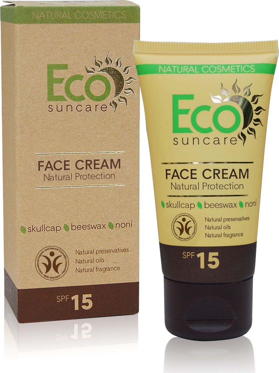 Eco Suncare Натуральный солнцезащитный крем для лица -Natural Sun Protection Face Cream SPF 15 -50мл191Солнцезащитный крем для лица содержит уникальный растительный комплекс, который надежно защитит кожу лица от UVA и UVB лучей, что сделает ваше пребывание на солнце безопасным и комфортным. Натуральные масла и экстракты растений содержат мощные антиоксиданты, которые обеспечивают защиту кожи от негативного воздействия окружающей среды, сохраняя ее молодой и здоровой. Экстракт байкальского шлемника предотвращает появление пигментации, вызванной солнечным воздействием, содержит природные фотофильтры. Пчелиный воск образует на коже защитную пленку, тем самым замедляя процесс обезвоживания и преждевременного старения кожи. Касторовое масло способствует увлажнению кожи, снимает шелушение, препятствует огрубению эпидермиса, придает эластичность и упругость коже. Сок нони содержит витамины, микроэлементы и аминокислоты, которые обновляют и реконструируют клетки кожи. Водостойкая формула средства защищает даже во время купания!