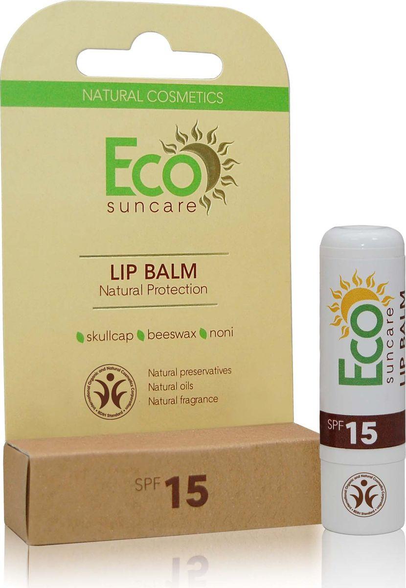 Eco Suncare Натуральный солнцезащитный бальзам для губ -Natural Sun Protection Lip Balm SPF 15 -5г28032022Содержит уникальный растительный комплекс, который надежно защищает нежную кожу губ от UVA и UVB лучей. Водостойкая формула средства защищает даже во время купания! В состав бальзама входит экстракт Ламинария Ochroleuca (коричневые морские водоросли) который защищает кожу от повреждений, связанных с чрезмерным пребыванием на солнце, предупреждает пигментацию и ожоги, препятствует обезвоживанию и преждевременному старению кожи губ. Натуральные масла и воски создают на поверхности губ защитную пленку, интенсивно питают, увлажняют, улучшают микроциркуляцию и предотвращают появление сухости и трещинок. Сок нони, содержит витамины, микроэлементы и аминокислоты, которые обеспечивают вашим губам шелковистость и мягкость.