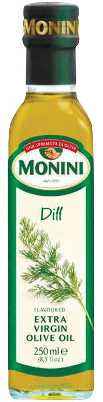 Monini масло оливковое Extra Virgin Укроп, 250 мл0120710Масло оливковое MONINI с укропом Еxtra virgin – полезный полностью натуральный продукт, не подвергнутый химическим процессам. Нерафинированное оливковое масло экстра класса станет прекрасной заправкой для зеленых салатов, основной для изысканных соусов и маринадов, а также других вкусных и полезных блюд средиземноморской кухни. Оливковое масло обладает экстраординарными оздоровительными свойствами, идеально подходит для приверженцев правильного питания.
