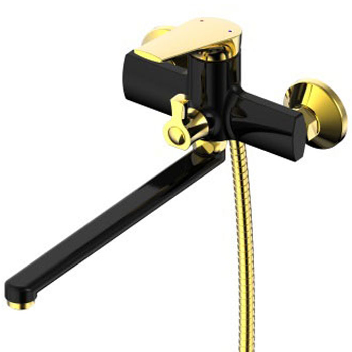 Смеситель для ванны РМС, с длинным изливом. SL122BL-006E. Цвет: черный, золотистый68/5/1Смеситель для ванны с длинным изливомКартридж:керамический 35 ммЕвро-переключение на душПоворотный прямой изливАэратор: пластиковыйЦвет покрытия корпуса: черный+золотоВ комплекте: эксцентрики, отражатели, металлический шланг для душа 1,5 м, лейка для душа