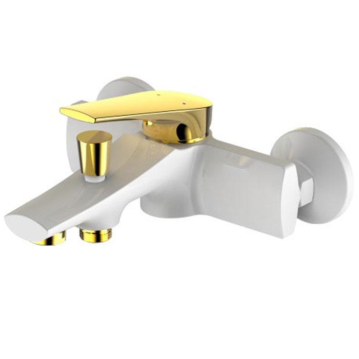 Смеситель для ванны РМС, с коротким изливом, цвет: белый, золотистый. SL122W-009BL505Смеситель для ванны с коротким литым изливом РМС предназначен для смешивания холодной и горячей воды. Изделие изготовлено из высококачественной первичной латуни, прочной, безопасной и стойкой к коррозии. Инновационные технологии литья и обработки латуни, а также увеличенная толщина стенок смесителя обеспечивают его стойкость к перепадам давления и температур. Переключение на душ: штоковое.В комплекте: эксцентрики, отражатели, металлический шланг для душа, лейка для душа. Картридж: 35 мм.Длина шланга: 1,5 м.Аэратор: пластиковый.