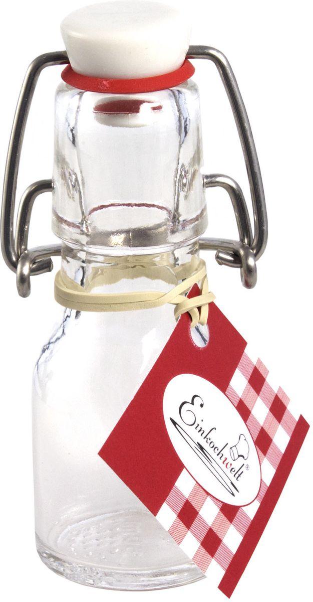 Бутылка Einkochwelt, с зажимом-клипсой, 50 мл1460/13Бутылка Einkochwelt, выполненная из стекла, позволит украсить любую кухню, внеся разнообразие в кухонный интерьер. Она легка в использовании. Крышка плотно закрывается с помощью металлического зажима-клипсы, дольше сохраняя свежесть продуктов. Крышка оснащена силиконовым уплотнителем.Благодаря этому внутри сохраняется герметичность, и напитки дольше остаются свежими.Оригинальная бутылка будет отлично смотреться на вашей кухне.Объем: 50 мл.