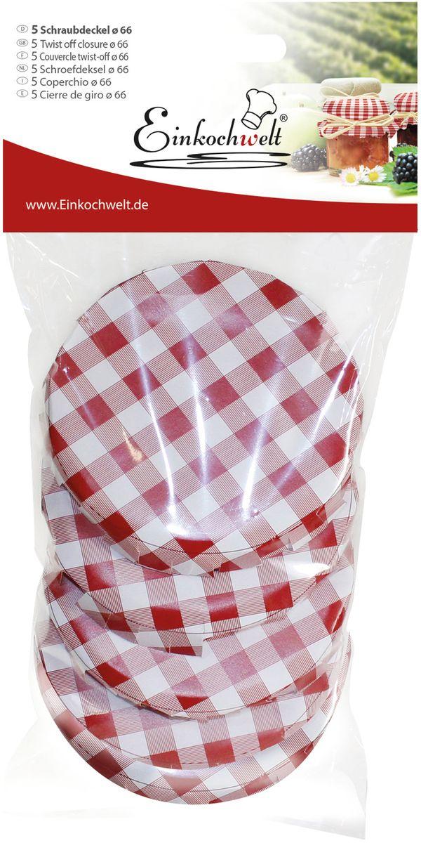 Крышка для банки Einkochwelt, 6,6 см. 5 шт94672Набор Einkochwelt состоит из пяти крышек для банок, которые выполнены из металла. Они предназначены для закупорки различных домашних заготовок в банки с горлышком соответствующего диаметра и обеспечивают надежное хранение и качество содержимого продукта.Диаметр крышки: 6,6 см.