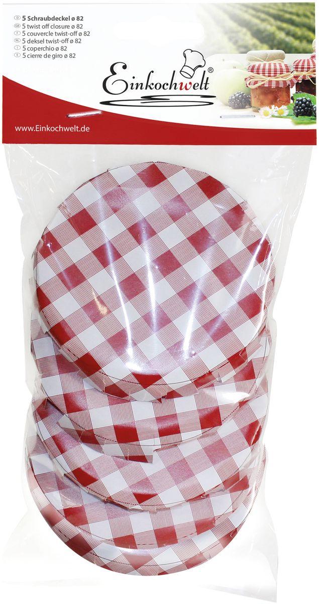 Крышка для банки Einkochwelt, 8,2 см. 5 шт54 009312Набор Einkochwelt состоит из пяти крышек для банок, которые выполнены из металла. Они предназначены для закупорки различных домашних заготовок в банки с горлышком соответствующего диаметра и обеспечивают надежное хранение и качество содержимого продукта.Диаметр крышки: 8,2 см.