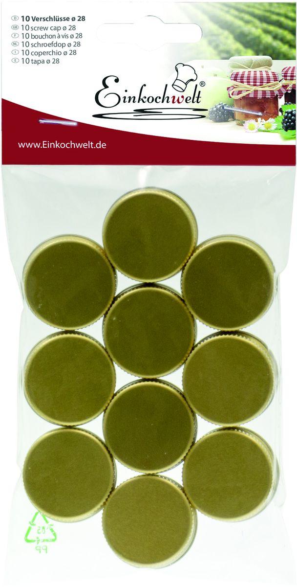 Крышка для бутылки Einkochwelt, цвет: зеленый, 2,8 см. 10 шт54 009312Набор Einkochwelt состоит из десяти крышек, которые выполнены из металла. Крышки предназначены для закупорки различных напитков и обеспечивают надежное хранение и качество содержимого продукта.Диаметр крышки: 2,8 см.