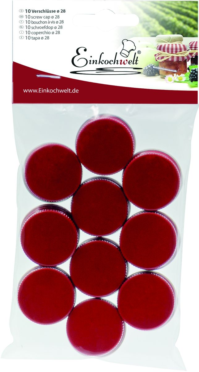 Набор крышек для бутылок Einkochwelt, 2,8 см, 10 штЭСБ-11/18-300Набор Einkochwelt состоит из десяти крышек, которые выполнены из металла. Крышки предназначены для закупорки различных напитков и обеспечивают надежное хранение и качество содержимого продукта.Диаметр крышки: 2,8 см.