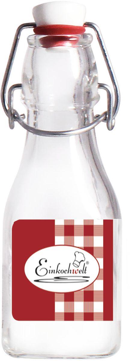 Бутылка Einkochwelt, с зажимом-клипсой, 125 мл4630003364517Бутылка Einkochwelt, выполненная из стекла, позволит украсить любую кухню, внеся разнообразие в кухонный интерьер. Она легка в использовании. Крышка плотно закрывается с помощью металлического зажима-клипсы, дольше сохраняя свежесть продуктов. Крышка оснащена силиконовым уплотнителем.Благодаря этому внутри сохраняется герметичность, и напитки дольше остаются свежими.Оригинальная бутылка будет отлично смотреться на вашей кухне.Объем: 125 мл.