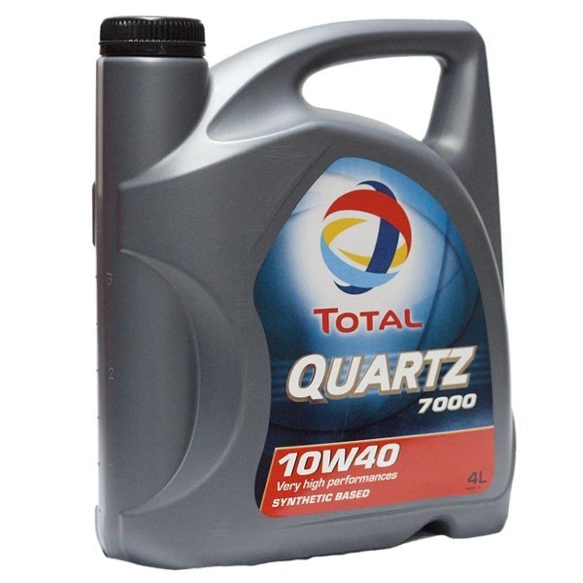 Моторное масло Total Quartz 7000 10W-40, 4 л10503Моторное масло Total Quartz 7000 10w-40 разработано для соответствия требованиям спецификаций бензиновых и дизельных двигателей (легковые и небольшие грузовые автомобили). Рекомендовано для применения в двигателях с турбонаддувом, включая многоклапанные. Масло обеспечивает высокие эксплуатационные свойства в условиях высоких нагрузок при вождении по автостраде и в городе, в любое время года. Total Quartz 7000 10w-40 прекрасно подходит для автомобилей, оснащенных катализаторами и использующих этилированный бензин или сжиженный газ. Использование Total Quartz 7000 10w-40 обеспечивает значительную экономию топлива, подтверждено тестом API SH EC I. Благодаря основе, состоящей из синтетических и высокоочищенных минеральных компонентов, Total Quartz 7000 10w-40 обладает высоким индексом вязкости и превосходной вязкостной стабильностью в эксплуатации. Масло изготовлено по технологии, обеспечивающей сочетание свойств легкотекучести (легкий холодный старт) и вязкости (превосходное смазывание при высоких температурах, низкий расход масла). Сохраняет в чистоте двигатель, благодаря выкотехнологичным моющим и диспергирующим присадкам, что не допускает потери мощности. Использование противоизносных присадок обеспечивает надежную защиту наиболее чувствительных частей двигателя. Спецификации/допуски: API SJ/SH/CF, PSA PEUGEOT CITROEN GASOLINE, API Energy Conserving | VOLKSWAGEN 500.00/505.00 (11/92), ACEA A3-96/B3-96 BMW, MB 229.1