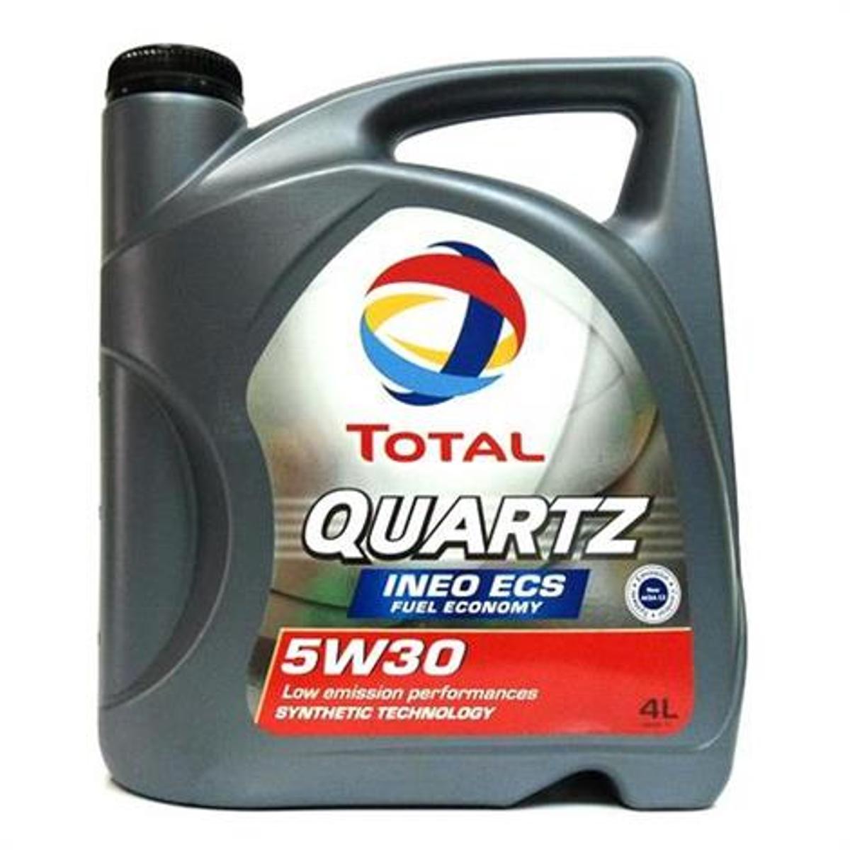 Моторное масло Total Quartz Ineo ECS 5w-30, 4 лS03301004Моторное масло нового поколения с пониженной сульфатной зольностью и низким содержанием фосфора и серы, специально разработанное для двигателей PEUGEOT и CITROEN. Это высокотехнологичное масло позволяет экономить топливо и оптимизирует функционирование систем контроля над выпуском загрязняющих веществ в атмосферу, например, дизельных сажевых фильтров.Одобрения• QUARTZ INEO ECS - это единственный смазочный материал с пониженной сульфатной зольностью и низким содержанием фосфора и серы, рекомендуемый изготовителями Peugeot и Citroen: одобрение PSA PEUGEOT & CITROEN B71 2290 • Соответствует техническим требованиям TOYOTA