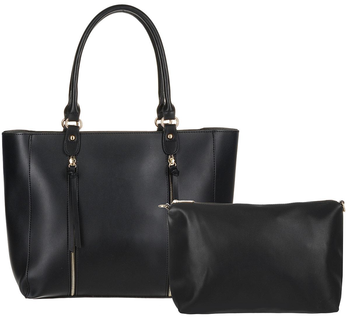 Сумка женская DDA, цвет: черный, 2 шт. BS-30033-47660-00504Женская сумка DDA выполнена из качественной искусственной кожи. В комплекте 2 сумочки: большая с двумя ручками и маленькая с наплечным ремнем. Большая сумка имеет одно вместительное отделение и застегивается на молнию. Лицевая часть оформлена двумя декоративными молниями. Сумка не содержит дополнительных карманов. Маленькая сумочка имеет съемный плечевой ремень, содержит одно отделение и застегивается на молнию. Внутри отделения расположены два открытых накладных кармана и один врезной. Сумочка легко помещается в большую.
