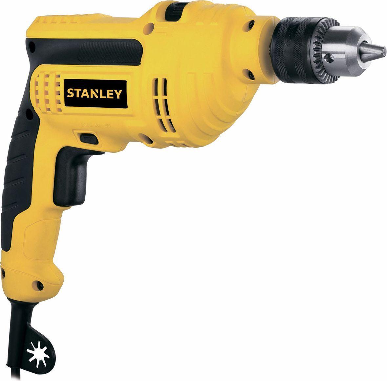 Дрель Stanley ударная. STDH5510STDH5510Дрель Stanley имеет 2 режима работы: сверление и ударное сверление. Второй режим позволяет работать с бетоном и кирпичом. Кнопка фиксации выключателя обеспечивает продолжительную работу без утомления. Основание провода имеет специальное крепление для ключа и насадок. Инструмент не перегреется благодаря вентиляционным отверстиям.