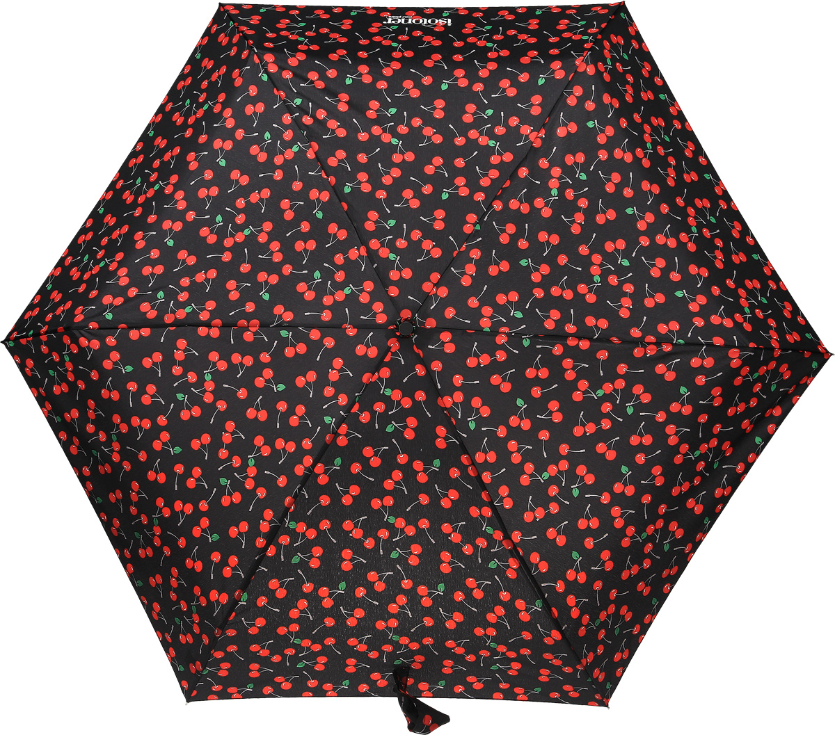 Зонт женский Isotoner Гламурная вишня, механический, 5 сложений, цвет: черный, красный. 09137-3614YY-11678-3Компактный женский зонт Isotoner изготовлен из металла и пластика. Каркас зонта на прочном металлическом стержне. Купол зонта изготовлен качественного полиэстера. Закрытый купол застегивается на липучку хлястиком. Практичная рукоятка закругленной формы разработана с учетом требований эргономики.Зонт складывается и раскладывается механическим способом.Такой зонт не только надежно защитит от дождя, но и станет стильным аксессуаром.