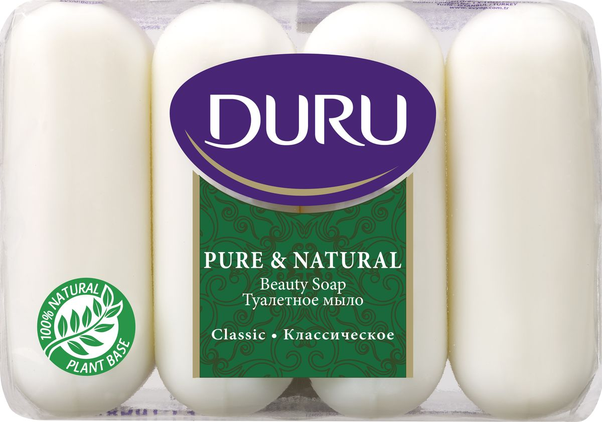 Duru Pure&NatМыло Классик э/пак 4*85гDB4010(DB4.510)/голубой/розовыйБережное туалетное мыло с нежными природными ароматами