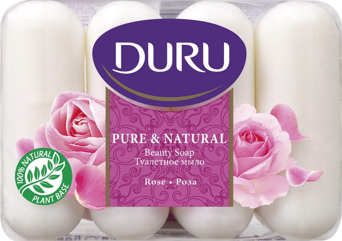 Duru Pure&NatМыло Роза э/пак 4*85г5010777139655Бережное туалетное мыло с нежными природными ароматами