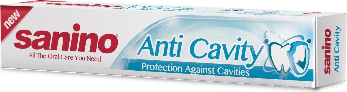 Sanino Зубная паста Anti Cavity Защита от кариеса 100млFMS-101Зубная паста Sanino делает улыбку светлой и здоровой благодаря отбеливающим компонентам в составе пасты. Sanino «Защита от кариеса» - это полноценная защита от самой распространенной болезни зубов, а также хороший уход за деснами.