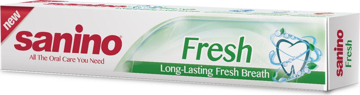 Sanino Зубная паста Fresh Длительное свежее дыхание 100мл800914020Зубная паста Sanino делает улыбку светлой и здоровой благодаря освежающим компонентам в составе пасты. Sanino «Длительное свежее дыхание» - это прекрасный способ сохранить свежесть рта на весь день, а также не беспокоиться и кариесе, ведь паста предотвращает его появление.