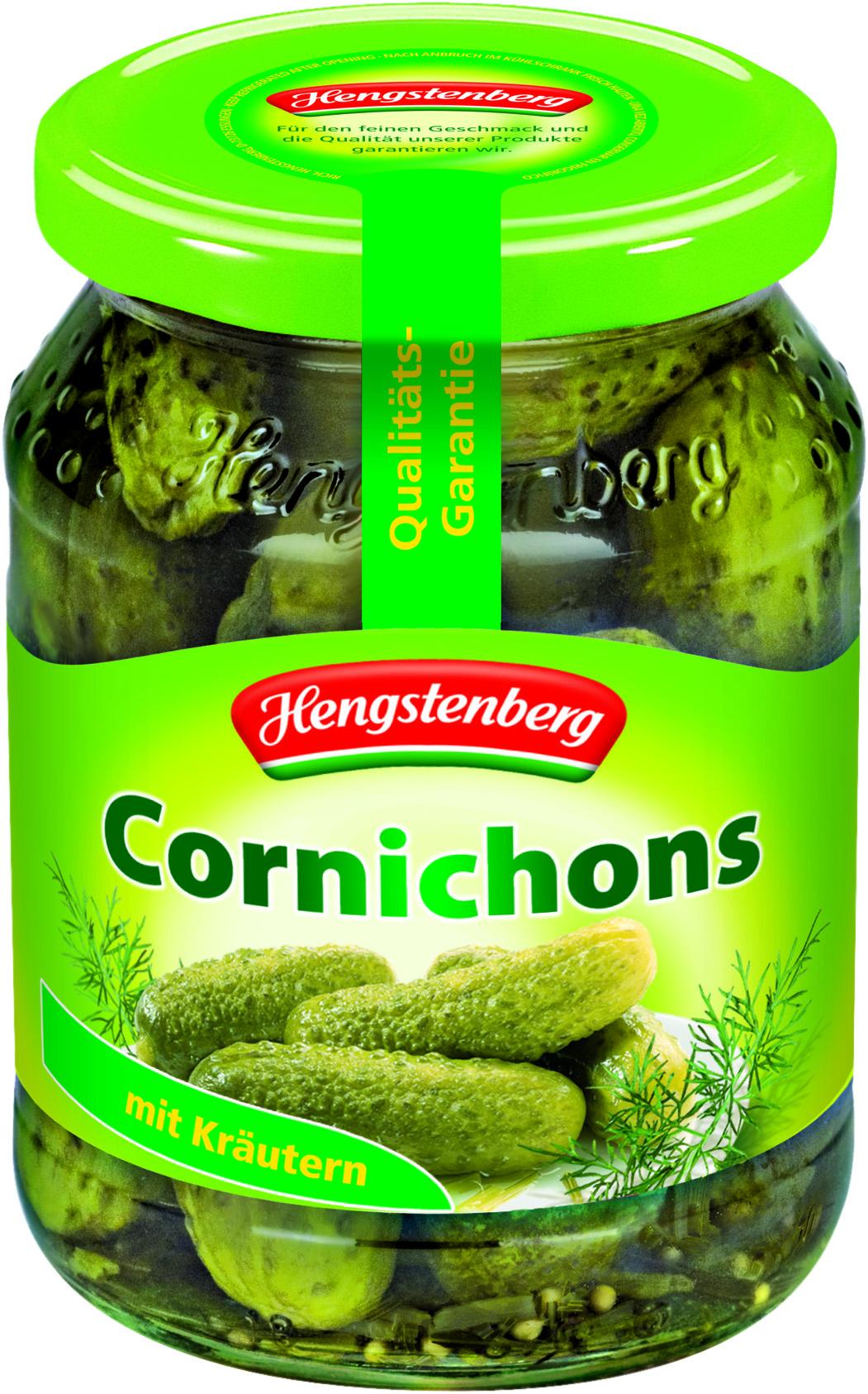 Hengstenberg Корнишоны пикантные, 370 мл0120710Корнишоны Hengstenberg маринованные с добавлением эстрагона, горчичных зерен и других пряностей отличаются слегка острым вкусом с нотками специй.