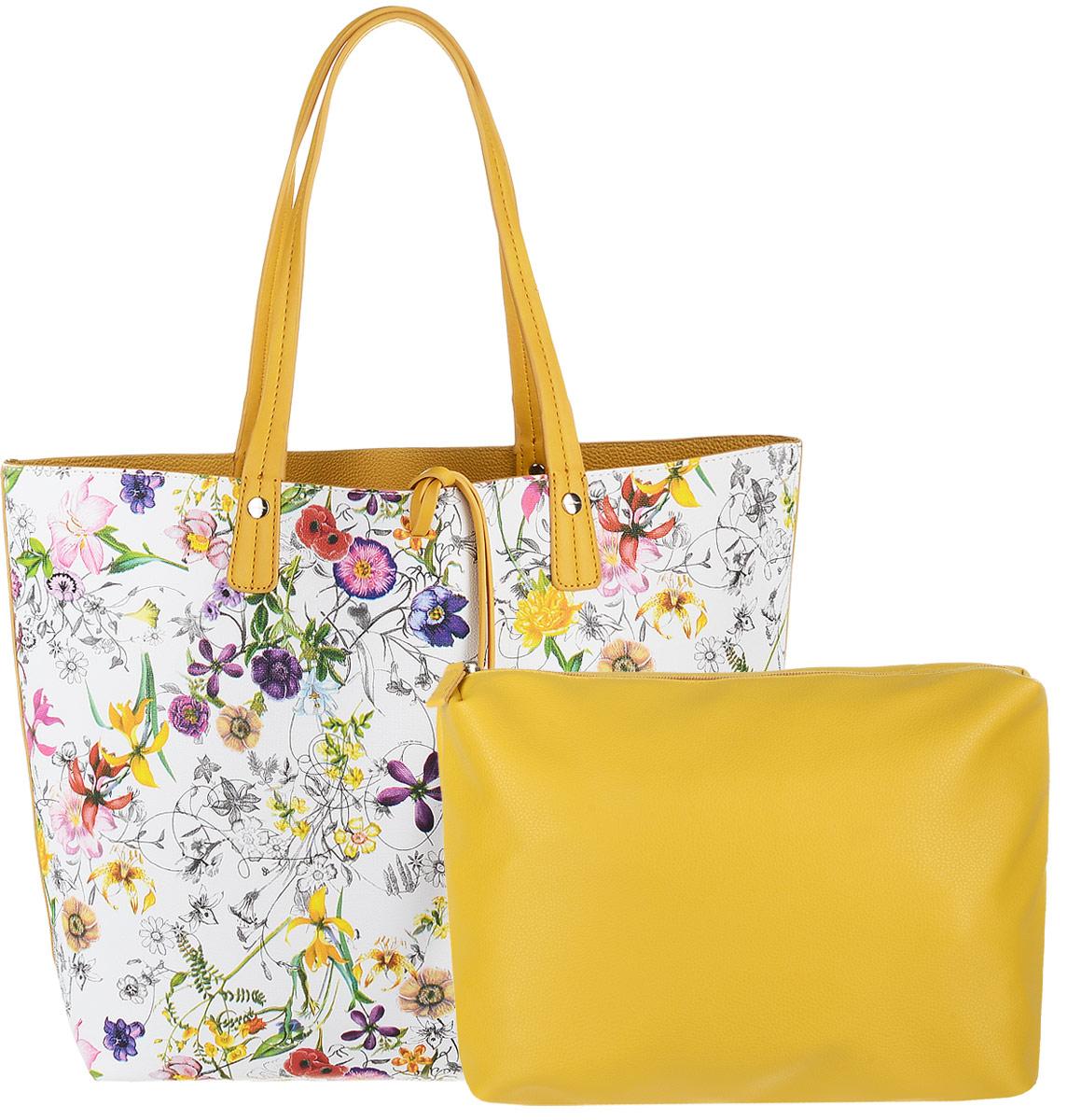 Сумка женская David Jones с косметичкой, цвет: белый, желтый. CM3318BM8434-58AEЖенская сумка David Jones выполнена из качественной экокожи. В комплекте: большая сумка с двумя ручками и косметичка. Большая сумка, оформленная ярким цветочным принтом содержит одно вместительное отделение и не имеет застежек. Лицевая часть декорирована шнурком-подвеской из экокожи. Сумка не содержит дополнительных карманов. Внутренняя сторона выполнена из однотонной экокожи.Косметичка содержит одно отделение и застегивается на молнию. Внутри отделения - один открытый накладной карман и один врезной. Косметичка легко помещается в большую сумку.