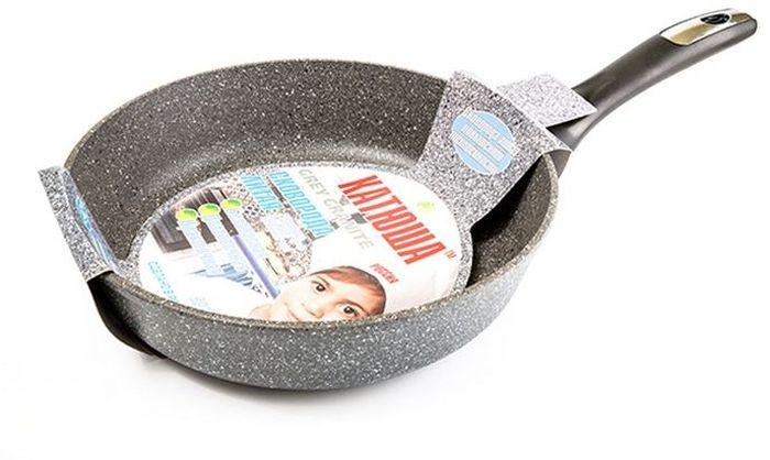 Сковорода Катюша Гранит, литая, с антипригарным покрытием. Диаметр 24 см3700164Сковорода а/п литая 24см. Толщина стенок-4мм, толщина дна-6мм