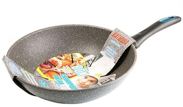 Сковорода-вок Катюша Гранит, литая, с антипригарным покрытием. Диаметр 28 смAL-4364.26Сковорода WOK а/п литая 28смТолщина стенок-4мм, толщина дна-6мм