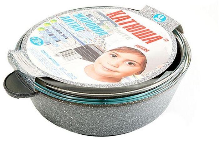 Жаровня Катюша Гранит с крышкой, с антипригарным покрытием. Диаметр 28 см68/5/3Жаровня Катюша Гранит изготовлена из литого алюминия с антипригарным покрытием, которое предотвращает пригорание и прилипание пищи. Специальным образом отшлифованное дно обеспечивает идеальный контакт с варочной поверхностью. Изделие снабжено стеклянной крышкой. Подходит для газовых, электрических, галогеновых и стеклокерамических плит. Не подходит для индукционных плит. Можно мыть в посудомоечной машине. Диаметр жаровни (по верхнему краю): 28 см.Толщина стенок: 4,5 мм. Толщина дна: 6 мм.