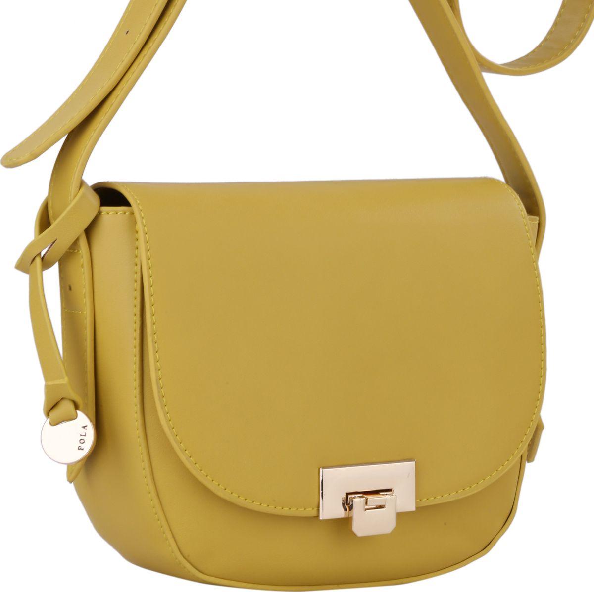 Сумка женская Pola, цвет: желтый. 64440BM8434-58AEЖенская сумка Pola выполнена из экокожи. Основное отделение закрывается клапаном на металлический замок и застегивается на молнию. Внутри основного отделения один открытый карман и небольшой карман на молнии. Сзади сумки расположен карман на молнии. Плечевой ремень несъемный, регулируемый по длине, максимальная высота 58 см. Цвет фурнитуры - золото.