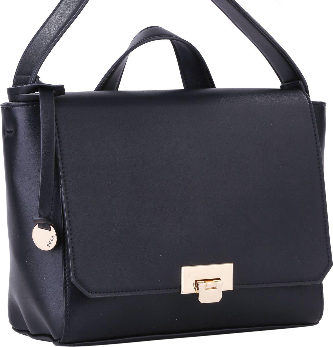 Сумка женская Pola, цвет: черный. 64441BM8434-58AEЖенская сумка Pola выполнена из качественной экокожи. Основное отделение закрывается клапаном на металлический замок и застегивается на молнию. Внутри два маленьких открытых кармана и небольшой карман на молнии. Сзади сумки расположен вшитый карман на молнии. Плечевой ремень несъемный, регулируемый по длине, максимальная высота 56 см. Имеется короткая ручка для переноски в руке. Цвет фурнитуры - золото.