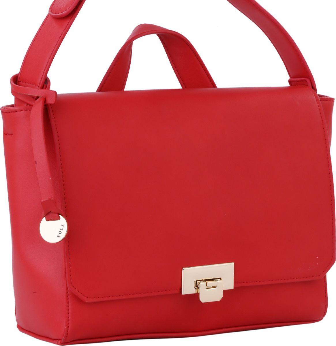 Сумка женская Pola, цвет: красный. 64441BM8434-58AEЖенская сумка Pola выполнена из качественной экокожи. Основное отделение закрывается клапаном на металлический замок и застегивается на молнию. Внутри два маленьких открытых кармана и небольшой карман на молнии. Сзади сумки расположен вшитый карман на молнии. Плечевой ремень несъемный, регулируемый по длине, максимальная высота 56 см. Имеется короткая ручка для переноски в руке. Цвет фурнитуры - золото.