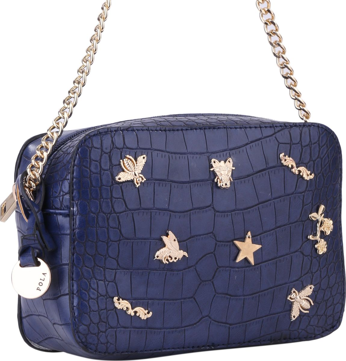 Сумка женская Pola, цвет: синий. 64445BM8434-58AEНебольшая женская сумка на плечо Pola выполнена из экокожи с имитацией под рептилию. Основное отделение закрывается на молнию, внутри которого небольшой карман на молнии. Плечевой ремень несъемный, регулируется по длине, максимальная высота 65 см. Спереди сумка декорирована металлическими фигурками в виде насекомых и цветочных узоров. Цвет фурнитуры - золото.