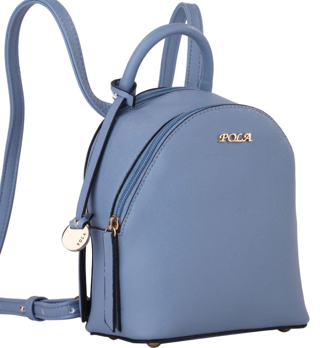 Рюкзак женский Pola, цвет: синий. 64449RivaCase 8460 blackНебольшой женский рюкзак Pola выполнен из экокожи. Имеет две молнии для доступа во внутреннее отделение, внутри которого один открытый карман и карман на молнии. Сверху ручка для переноски. Лямки сконструированы таким образом, что рюкзак можно носить как сумку на плечо, если протянуть ремешок вверх через кольца. Ремень можно регулировать по длине, максимальная высота 50 см. На дне металлические ножки. Цвет фурнитуры - золото.