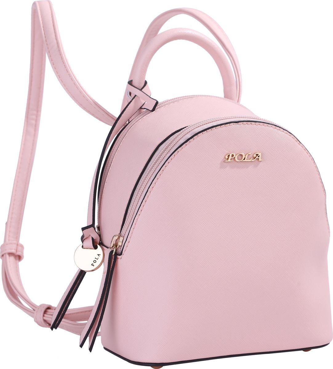 Рюкзак женский Pola, цвет: светло-розовый. 64449747998-101Небольшой женский рюкзак Pola выполнен из экокожи. Имеет две молнии для доступа во внутреннее отделение, внутри которого один открытый карман и карман на молнии. Сверху ручка для переноски. Лямки сконструированы таким образом, что его можно носить как сумку на плечо, если протянуть ремешок вверх через кольца. Ремень можно регулировать по длине, максимальная высота 50 см. На дне металлические ножки. Цвет фурнитуры- золото.